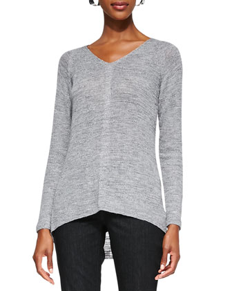 Classic Slub-Knit V-Neck Tunic, Pewter