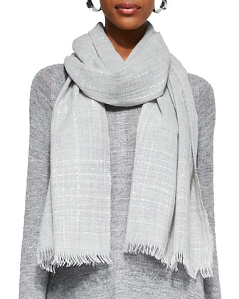 Classic Slub-Knit V-Neck Tunic, Heathered Wool Sparkle Scarf & Slim Stretch ...