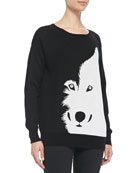 Wool Intarsia-Knit Wolf Sweater
