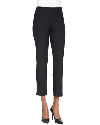 Washable Stretch-Crepe Ankle Pants, Coffee