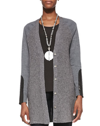 Long Leather-Patch Cardigan, Women's