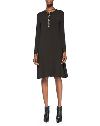 Cozy Long-Sleeve A-line Jersey Dress, Petite