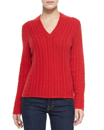Cable-Knit Cashmere V-Neck Sweater, Red