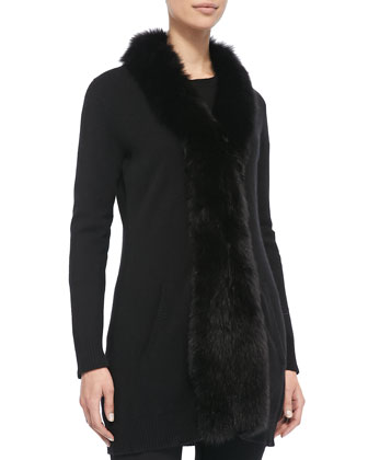 Fur-Placket Cashmere Cardigan