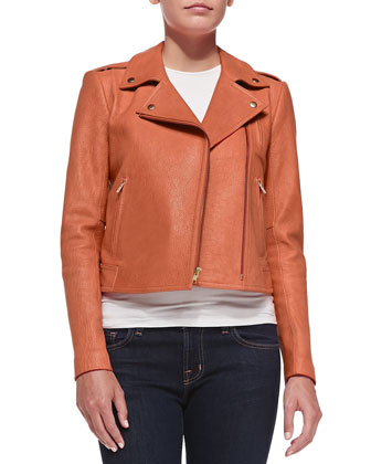 Asymmetric-Zip Leather Moto Jacket