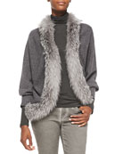 Long-Sleeve Fur-Trim Cardigan