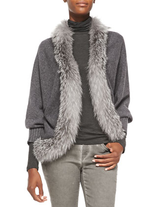 Long-Sleeve Fur-Trim Cardigan