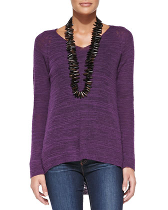 Slub-Knit V-Neck Tunic, Women's