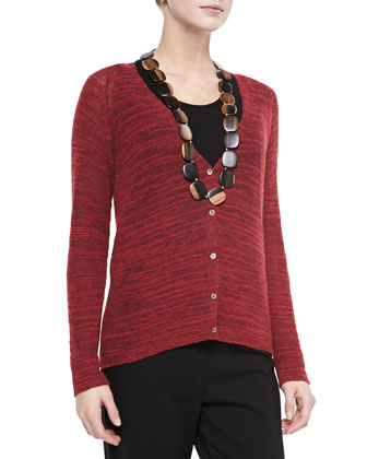 Slub-Knit V-Neck Cardigan