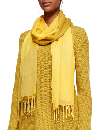 Super-Soft V-Neck Tunic & Shibori Tissue Modal Scarf