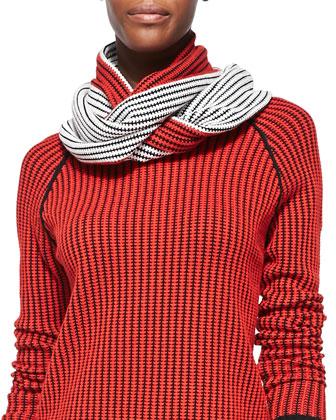 Striped Knit Sweater W/Scarf