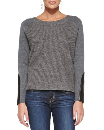 Super-Soft Knit Top with Leather Patches, Petite