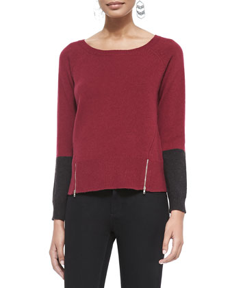 Soft Colorblock Top w/ Zipper Hem, Petite