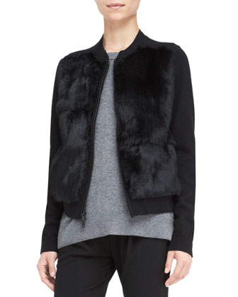 Fur Stand-Collar Cardigan, Cashmere Back-Overlay Top & Leather-Trim Relax ...