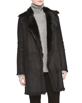 Asymmetric Shearling Fur Coat