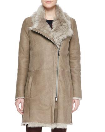 Asymmetric Shearling Coat, Cashmere Regimental-Stripe Sweater & Suede ...