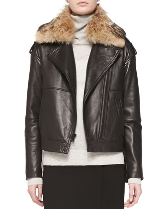 Fur-Collar Leather Jacket, Cashmere Overlay Turtleneck Sweater & Straight ...