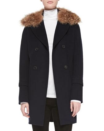 Pea Coat with Detachable Fur Collar