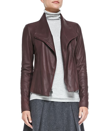 Leather Scuba Jacket, Ribbed Knit Turtleneck & Pleated Flared Wool Skirt