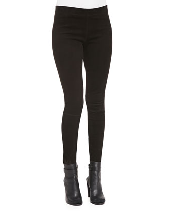 Leather-Trim Felt Cape & Suede Mid-Rise Leggings