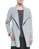 Sweater-Back Drape-Neck Coat