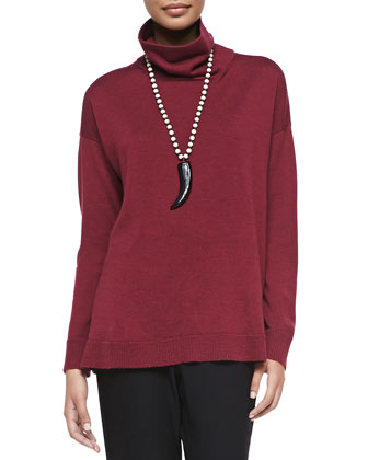 Merino Wool Long-Sleeve Turtleneck, Petite