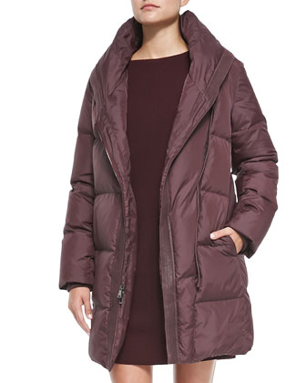 Shawl-Collar Puffer Coat & Satin-Back Sweater Dress