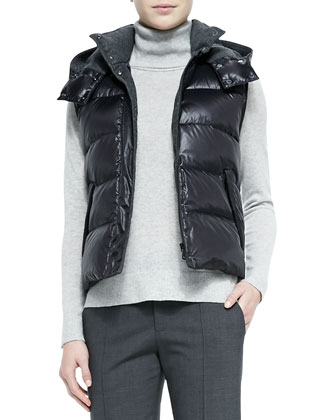 Detachable Hoodie Puffer Vest, Cashmere Turtleneck Sweater & Pintuck ...