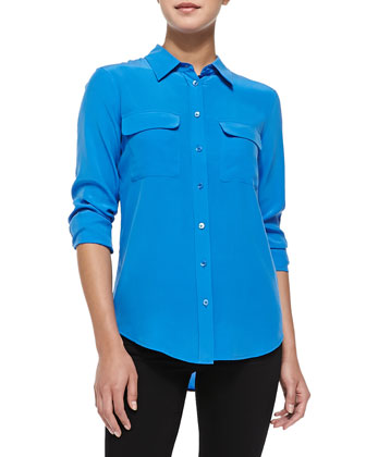 Slim Signature Silk Blouse, Electric Blue