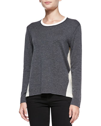 Renelle Two-Tone Slub Pullover