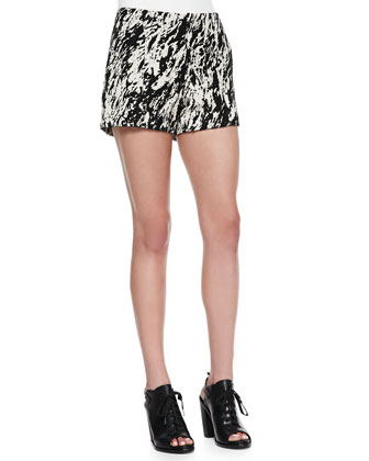 Harper One-Button Blazer, Sally Long-Sleeve Shirt & Em Printed Twill Shorts