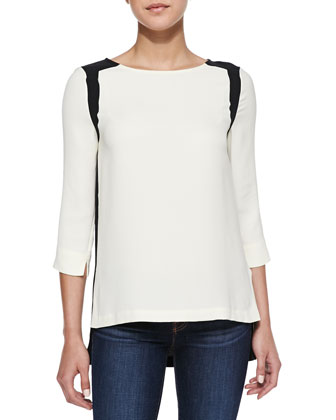 Jade Colorblock Boat-Neck Blouse