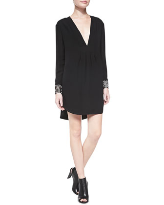 Draped Front Beaded-Cuff Silk Dress