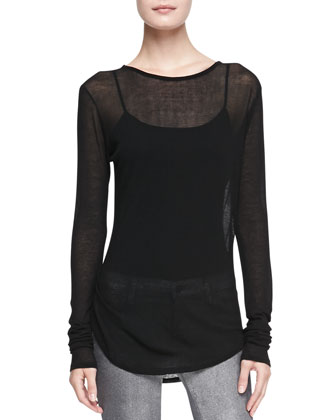 Martha Leather-Trim Wool Sweater, Sophia Sheer Long-Sleeve Tee & 910 ...