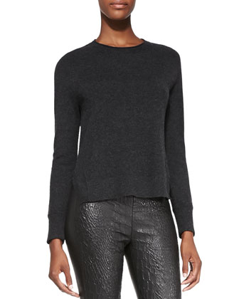 Eugenia Cashmere Split-Hem Sweater & Smooth/Snake-Print Leather Leggings