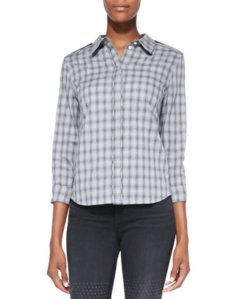 Vika Faded Plaid Cotton Shirt