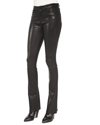 Remy Lambskin High-Rise Pants, Noir