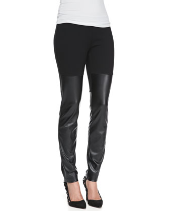 Faux-Leather Jersey Leggings