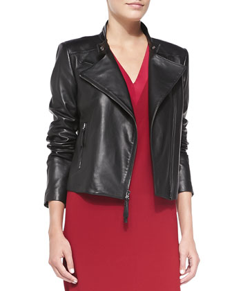 Asymmetric Zip-Front Leather Jacket with Perforated Yoke