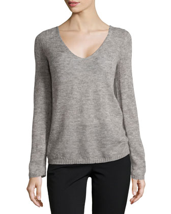 V-Neck Brush Knit Sweater, Dark Ash