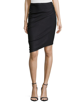 Asymmetric Wool Pencil Skirt, Coal