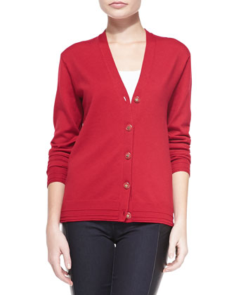 Madison Topstitch-Trim Knit Cardigan