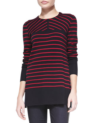 Seraphina Striped Wool Tunic Sweater
