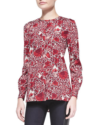 Meg Floral-Print Stretch-Silk Top