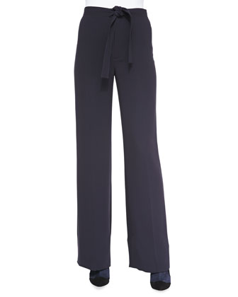 Macey Crepe Tie-Waist Pants