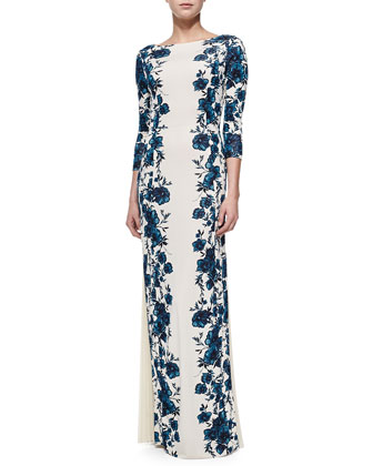 Stacy Floral-Print Gown