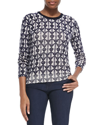 Tia Printed Wool Sweater