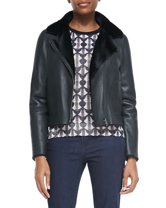 Caroline Lambskin/Shearling Jacket & Tia Printed Wool Sweater