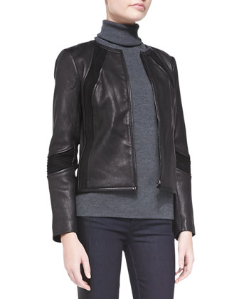 Micky Leather Jacket, Evangeline Turtleneck Sweater & Harlow Leather-Side ...