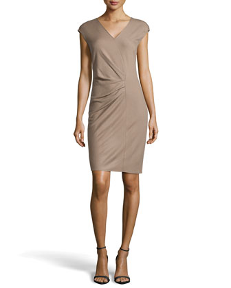 Cap-Sleeve V-Neck Wool-Knit Wrap Dress, Fossil